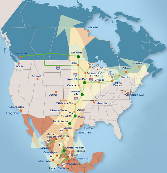 North American Strategy for Competitiveness (NASCO) Trade Network (Source: http://www.americansov.org/images/naipn_nasco_corridor.jpg)
